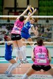 Volley. MILAN, ITALY - APRIL, 27: MILAN, ITALY - APRIL, 27: F. Facchinetti ( 13 - Saugella Team Blue ) against  L. Melandri ( 12 Foppapedretti) in  Saugella Team Royalty Free Stock Photography