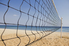 Volley Net On a Sea Background Stock Photo