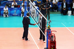 Volley referees. The two refs of the world cup volleyball match belgium vs dominican republic played at bari in italy.1/10/2015 Stock Photo
