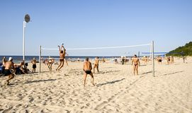 Volleyball. Beach volleyball on the Riga beach Royalty Free Stock Photo