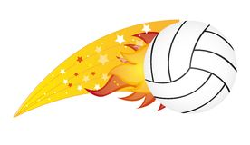 Volleyball. With fire isolated over white background. vector illustration Stock Photo