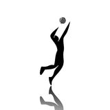 Volleyball. Profile of Black Sports beaten in volleyball Stock Images