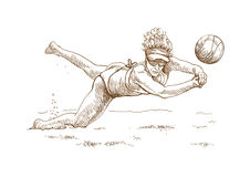 Volleyball. Hand drawing picture - beach volleyball Royalty Free Stock Photo