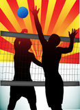 Volleyball. Illustration of volleyball on sunset Royalty Free Stock Photo