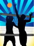 Volleyball. Illustration of volleyball on sunset stock illustration