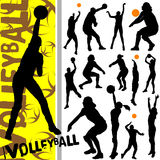 Volleyball. Collection of volleyball silhouettes vector Stock Photos