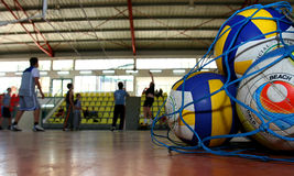 Volleyball. It is photographed in a sports hall Stock Image