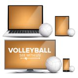 Volleyball Application Vector. Field, Volleyball Ball. Online Stream, Bookmaker, Sport Game App. Banner Design Element. Live Match. Monitor, Laptop Tablet Stock Photo