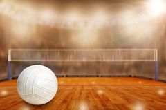 Volleyball arena with ball on court and copy space stock image
