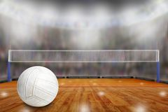 Volleyball arena with ball on court and copy space royalty free stock photo