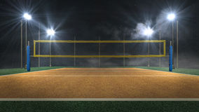 Volleyball arena at night 3d rendering stock illustration