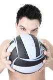 Volleyball Athlete With Ball on studio Royalty Free Stock Photo