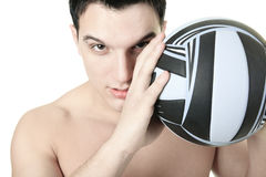 Volleyball Athlete With Ball on studio Stock Images