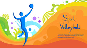 Volleyball Athlete Sport Competition Colorful Banner Stock Photo