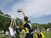 Volleyball attack over block Royalty Free Stock Photos
