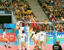 Volleyball attack. Royalty Free Stock Photos