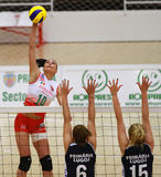 Volleyball attack Royalty Free Stock Images