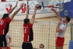 Volleyball attack Stock Images
