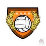 Volleyball au milieu de wreth d'or de laurier sur le bouclier Logo de sport de vecteur pour toute équipe ou concurrence d'isoleme illustration libre de droits