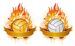 volleyball avec des flammes illustration stock