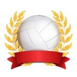 Volleyball Award Vector. Sport Banner Background. White Ball, Red Ribbon, Laurel Wreath. 3D Realistic Isolated.  Royalty Free Stock Photos