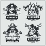Volleyball badges, labels and design elements. Sport club emblems with pirate,cowboy and viking. Vector Royalty Free Stock Photos