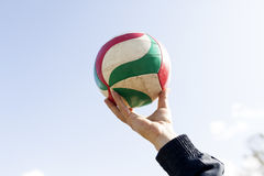 Volleyball Ball. Boy Hold Volleyball Ball On Hand Royalty Free Stock Photos