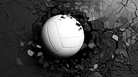 Volleyball ball breaking forcibly through a black wall. 3d illustration. Stock Photography