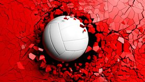 Volleyball ball breaking forcibly through a red wall. 3d illustration. Royalty Free Stock Images