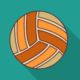 Volleyball ball color flat icon vector illustration. Volleyball ball retro poster, sport and recreation concept Stock Illustration