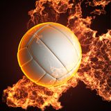 Volleyball ball in fire. Made in 3D Stock Images