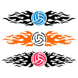 Volleyball ball flaming logo templates Stock Photo