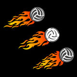 Volleyball ball flaming vector logo designs Stock Images