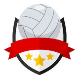 Volleyball Ball Flat Logo with Ribbon Royalty Free Stock Photography