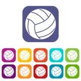 Volleyball ball icons set flat Stock Photo