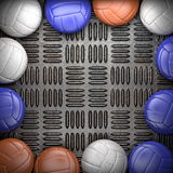 Volleyball ball and metal wall Stock Images