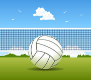 Volleyball ball and net Royalty Free Stock Photos