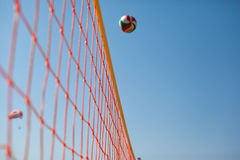 Volleyball Ball Over Net Stock Photography