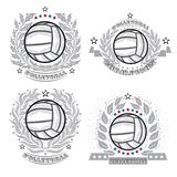 Volleyball ball with silver wreath and ribbon isolated on white. Set of sport logo for any team stock illustration