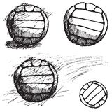 Volleyball ball sketch set isolated on white background Royalty Free Stock Photos