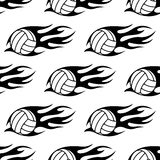 Volleyball ball with tribal flames seamless Royalty Free Stock Photos