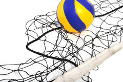 Volleyball ball and volleyball net Royalty Free Stock Photo