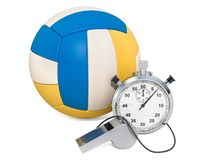 Volleyball ball with whistle and stopwatch, 3D rendering. Isolated on white background stock illustration