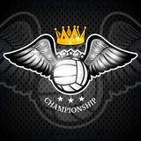 Volleyball ball with wings and crown. Vector sport logo for any team. And championship royalty free illustration