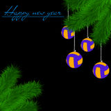 Volleyball balls on Christmas tree branch Royalty Free Stock Photos