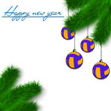 Volleyball balls on Christmas tree branch Royalty Free Stock Image