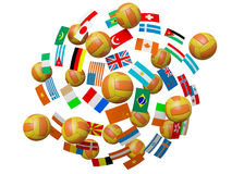 Volleyball balls and flags Royalty Free Stock Photography