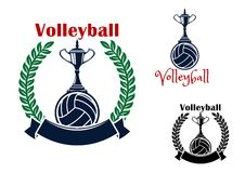 Volleyball balls and trophy cups symbols Stock Photography