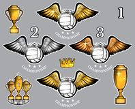 Volleyball balls with wings cups and crown. Vector set of sport logo for any team. And championship stock illustration