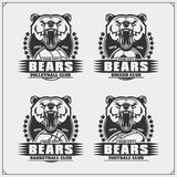 Volleyball, baseball, soccer and football logos and labels. Sport club emblems with bear. Black and white Stock Images